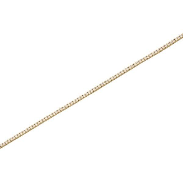 Χρυσο βραχιολι ριβιερα Κ14 με λευκες συνθετικες πετρες