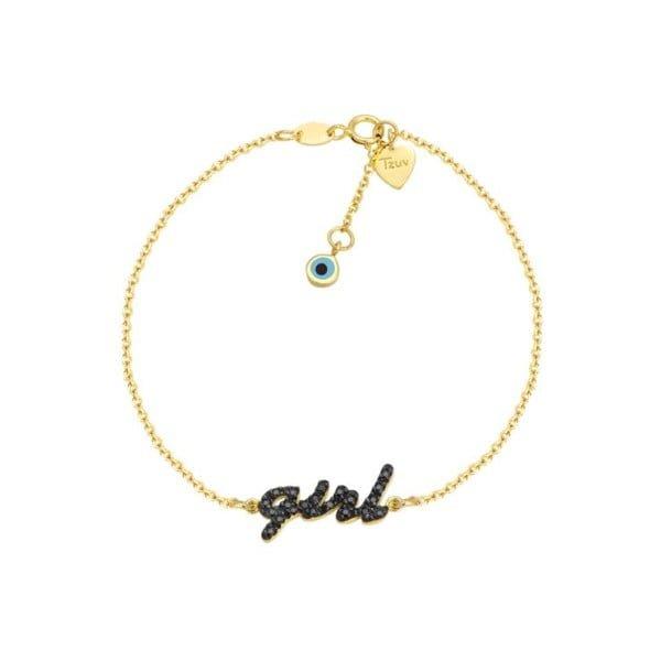 Χρυσο βραχιολι Κ14 GIRL με πετρες