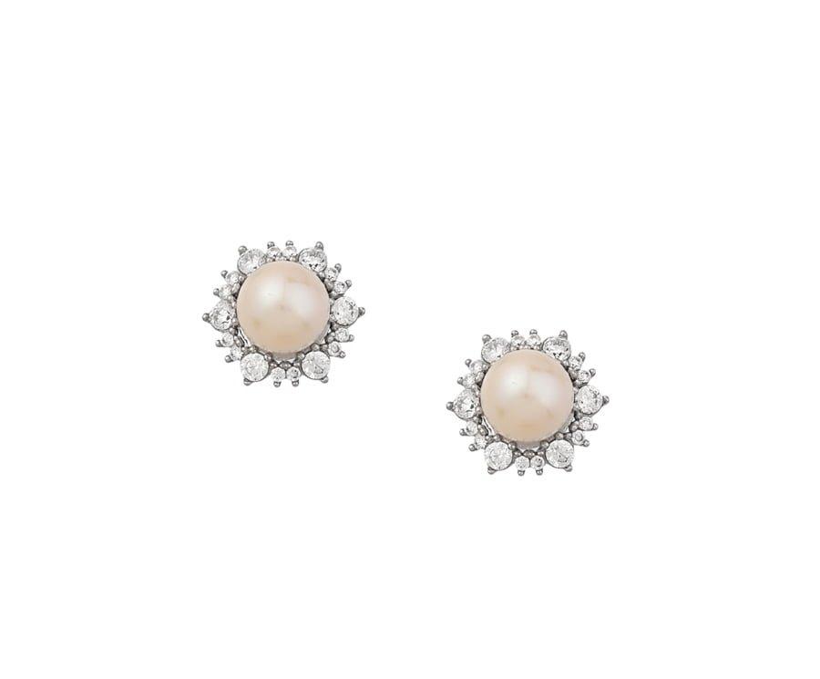Χρυσα σκουλαρικια Κ14 με πετρες και μαργαριταρι