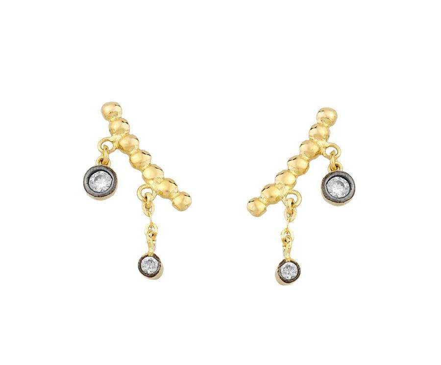 Χρυσα σκουλαρικια Κ14 με πετρες