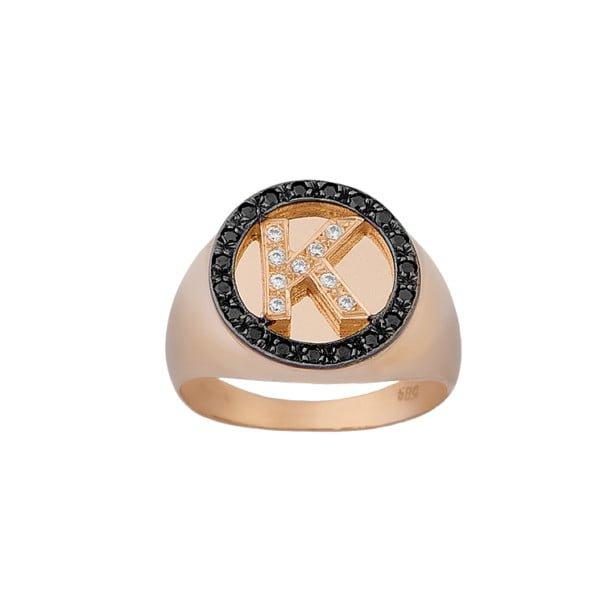 Χρυσο δαχτυλιδι μονογραμμα με πετρες Κ14