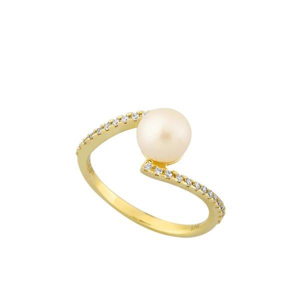 Χρυσο δαχτυλιδι με πετρες και μαργαριταρι Κ14