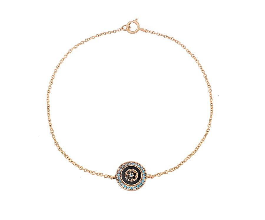 Χρυσο βραχιολι ματι Κ14 με πετρες και σμαλτο