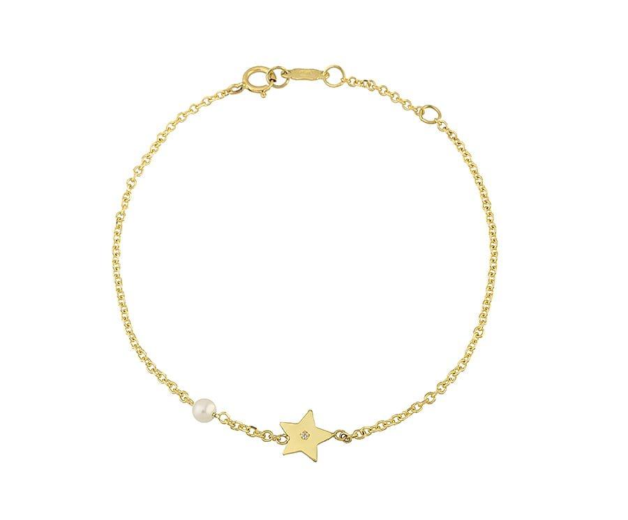 Χρυσο βραχιολι Κ14 αστερι με πετρα και μαργαριταρι