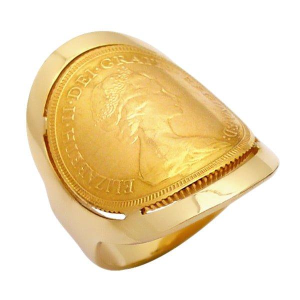 Χρυσο δαχτυλιδι Κ14 με χρυση λιρα