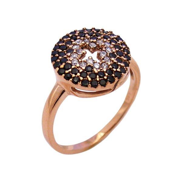 Χρυσο δαχτυλιδι Κ14 με πετρες λευκες και μαυρες