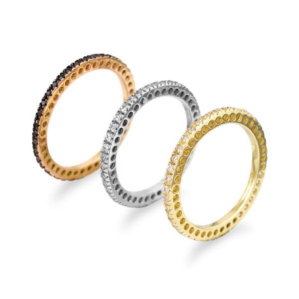 Χρυσο δαχτυλιδι Κ14 ολοβερο με πετρες λευκες η μαυρες
